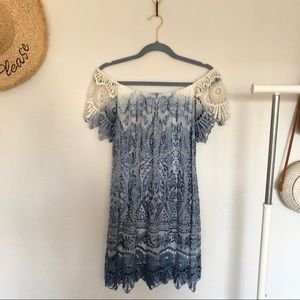 NWOT Sky Ombré Embroidered Lace Dress
